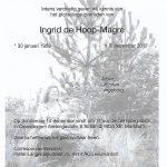 Overleden Ingrid de Hoop-Magré